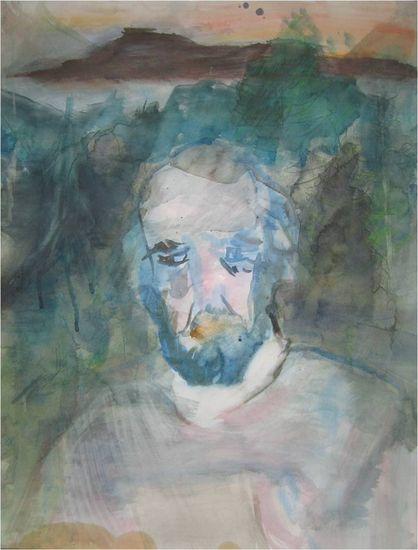 Isäni kuten näin hänet silloin 2002 / My father as I saw him back then 2002 / akvarelli  paperille / aquarell on paper