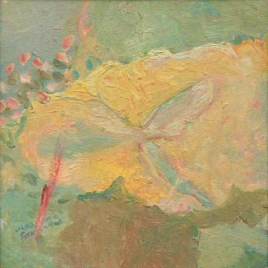 Sudenkorennon kevättä keltaisella lumpeenlehdellä