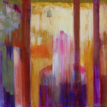 Teoksen nimi: Häivähdys/Flicker/Sfarfallio, 2012, acrylic painting, 75 x 92 cm