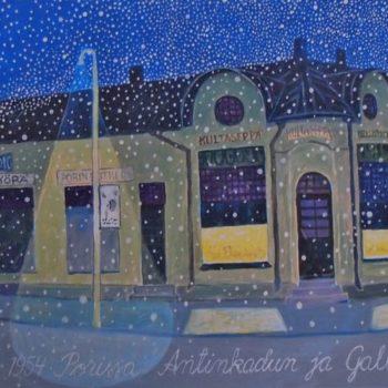 Teoksen nimi: Ensimmäinen lumisade syksyllä 1954 Porissa Antinkadun ja Gallen-Kallelankadun kulmassa