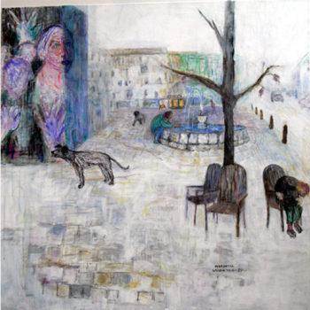Teoksen nimi: KAUPUNKI-IDYLLI, akryyli kankaalle, 100x100cm, v.2013