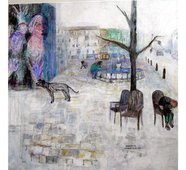 KAUPUNKI-IDYLLI, akryyli kankaalle, 100x100cm, v.2013