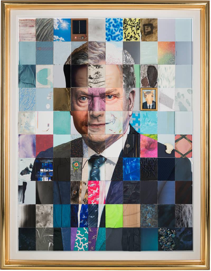 Suomen Tasavallan presidentin Sauli Niinistön muotokuva, toteutettu yhdessä 100:n taiteilijan kanssa