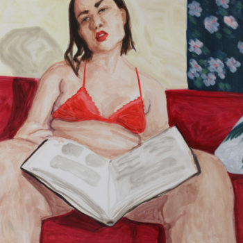 Teoksen nimi: Self-portrait with a book about something irrelevant