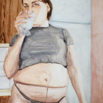 Teoksen nimi: Self-portrait with a glass of (plant-based) milk