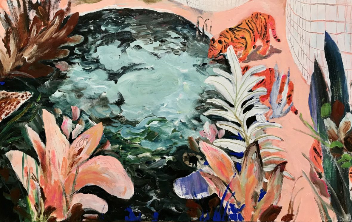 Raidalliset uimapuvut kaakeliviidakossa / Striped Swimsuits in Tile Jungle