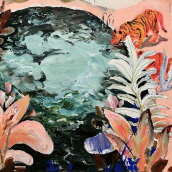 Teoksen nimi: Raidalliset uimapuvut kaakeliviidakossa / Striped Swimsuits in Tile Jungle